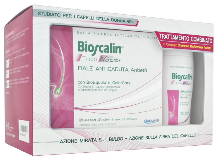 Bioscalin TricoAge 45+ trattamento combinato Fiale anticaduta antietà capelli  donna (10 pz) + Shampoo rinforzante omaggio (200 ml) b15fe42e928b
