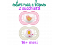 Mam Original succhietti in caucciù naturale 16+ mesi colore rosa e bianco (2 pz)