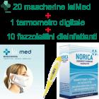 Kit mascherine Isi Med (20 pz) da 2 a 50 pezzi + fazzoletti disinfettanti (10 pz) + termometro (1 pz)