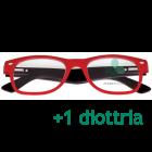 CorpOOtto Pc Vision Occhiali per lettura unisex colore rosso +1,00 + astuccio in pelle