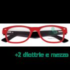 CorpOOtto Pc Vision Occhiali per lettura unisex colore rosso +2,50 + astuccio in pelle