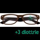 CorpOOtto Pc Vision Occhiali per lettura unisex colore marrone +3,00 + astuccio in pelle