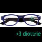 CorpOOtto Pc Vision Occhiali per lettura unisex colore blu +3,00 + astuccio in pelle